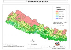 Map of Nepal Showing Population Distribution