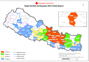 Figure 1 Map of Nepal with hardest earthquake-hit districts