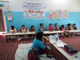 Chief of women development office makwanpur, shova shaha presentating