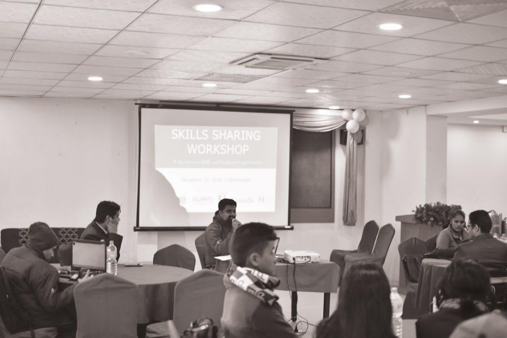 NFDN workplacement coordinator Kiran Raj Poudel presenting in the program