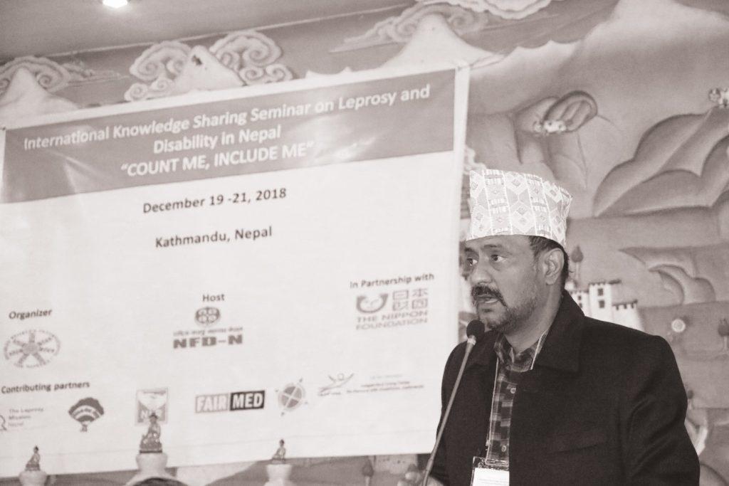 NFDN president Shudarson Subedi giving his remarks during the program