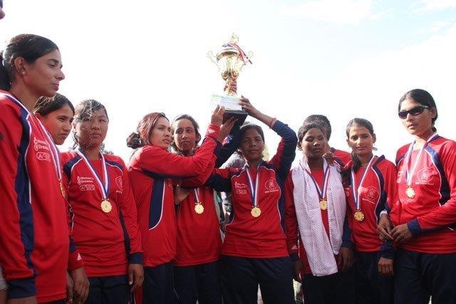 Bhagwati Bhattarai, captain of Nepalese Blind women team receiving 1st prize