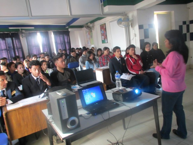 Shila Thapa talking about down syndrome with students