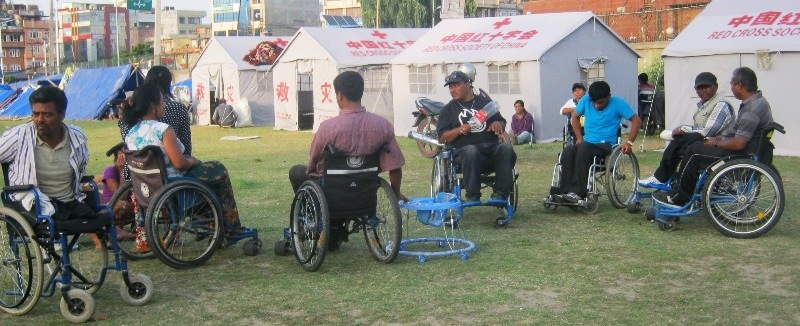 people with disabilities staying in temporary shelters in Jawalakhel