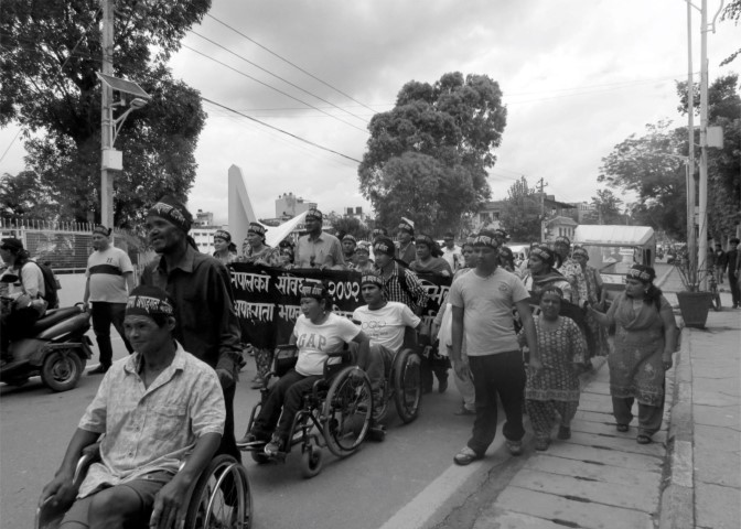 People with disabilities in rally