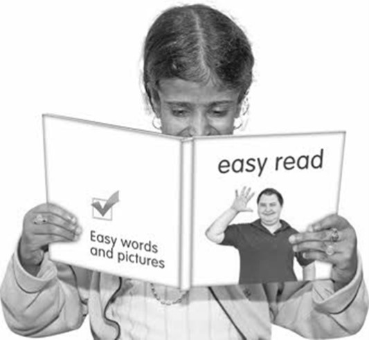 A child reading a book titled Easy read