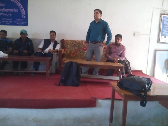 Mr. Bimal Paudel, Project Officer at NFDN spekaing during the program