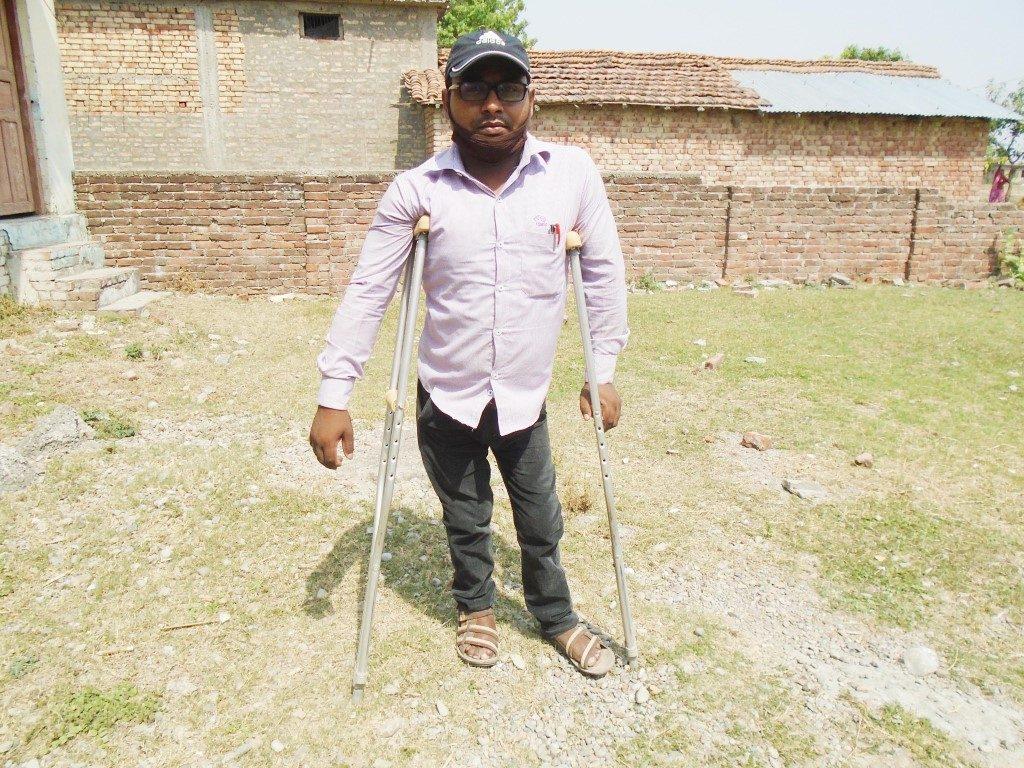 Engineer Prajapati infront of his school