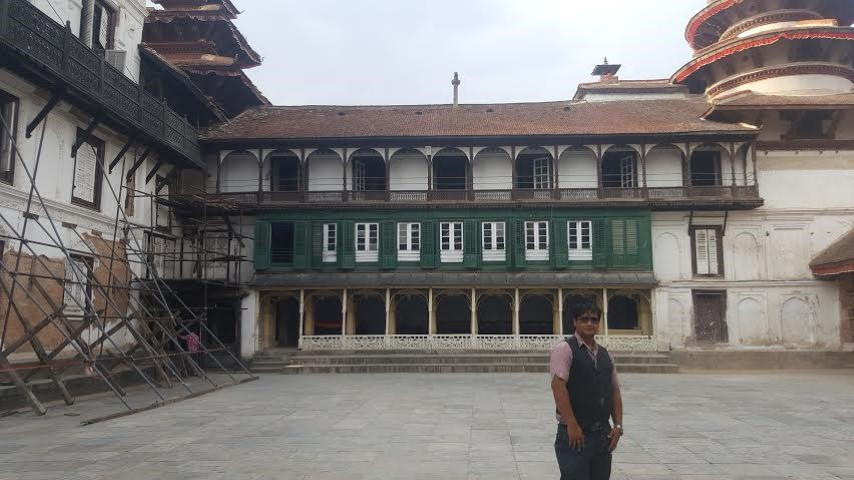 Image of author infront of a palace at Basantpur Durbar Square