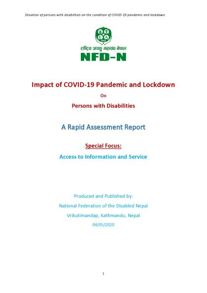 Cover page of COVID-19-Disability-NFDN-Rappid Assessment-Final Report