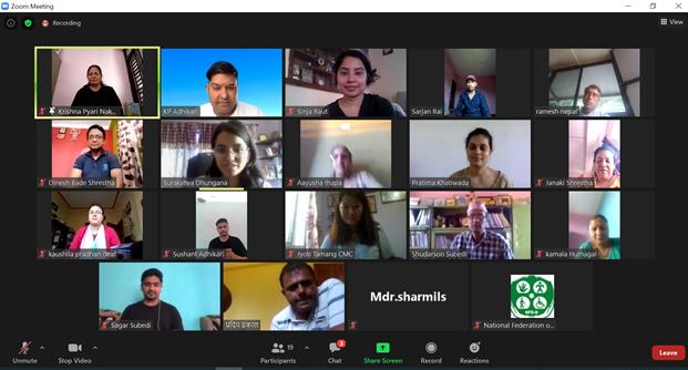 Figure 2: तालिममा उपस्थित सम्पूर्ण सहभागीहरु, आयोजाकहरु सहजकर्ताहरुको स्क्रीन शट