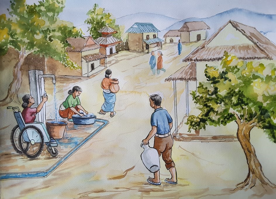 In the illustration, People are carrying vessels to fill water, some are cleaning clothes